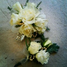 White, rhinestone, silver and gold wristlet and boutonniere, by www.fleurieflowersbylgarza.com