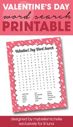 FREE Valentine's Word Search Printable - perfect for class parties or at home with the kids!