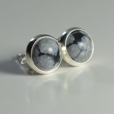 snowflake obsidian 6mm sterling silver stud by laurenmeredith