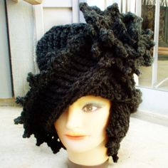 I love this! Crochet Couture Charcoal Gray Wool Cloche Hat by strawberrycouture