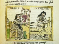 Marcia, from an incunable German translation by Heinrich Steinhöwel of Boccaccio's De Mulieribus Claris, printed by Johannes Zainer at Ulm ca. 1474 (Image © Wikimedia Commons). In this illustration, Marcia is shown twice, once as a painter and once as a sculptor, just as the text (see below) demands. Contrary to the text, however, her chastity is visualised by her being dressed as a nun – even though Boccaccio explicitly states that she had *not* taken any religious vows.
