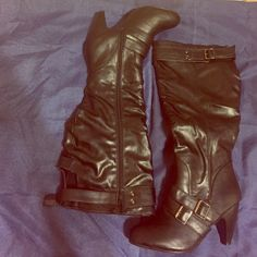 """Black knee high faux leather boots Black knee high,faux leather boots,a 4"""" heel with a full zipper on the side Shoes Heeled Boots"""
