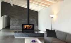 Selfbuilder Homemaker Products Double Sided Wood Burning Stove With Modern Wood Burning Fireplace Design Ideas Home Fireplace, Living Room With Fireplace, Fireplace Design, Double Sided Stove, Double Sided Fireplace, Wood Burning Logs, Rustic Wood Floors, Open Plan Kitchen Living Room, Freestanding Fireplace