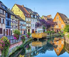 Colorful traditional french houses on the side of river Lauch in Petite Venise, Colmar, France Oh The Places You'll Go, Places To Travel, Travel Destinations, Places To Visit, Travel Things, Bruges, France Travel, French Houses, Small Towns