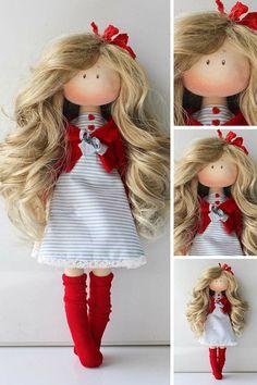 Rag doll Tilda doll Fabric doll Muñecas Red doll Birthday doll