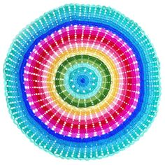 O.B. Designs crocheted round throw rug or baby blanket - Rainbow Ripple from Milk Tooth