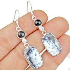 Dendrite Opal 925 Sterling Silver Earring Allison Co Jewelry E-1570 #Allisonsilverco