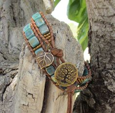 Turquoise Tree of Life leather wrap by WorldOfSquirrelCraft