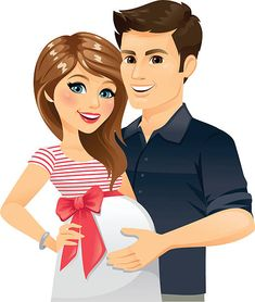 A happy Pregnant couple. The bow is removable in Adobe Illustrator. Cartoon Girl Images, Cartoon Pics, Cute Couple Art, Cute Couples, Hubby Birthday Quotes, Pregnancy Art, Mother Art, Silhouette Clip Art, Baby Clip Art