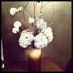 hydrangea and cotton centerpiece   wedding florist meridian ms   rustic centerpiece