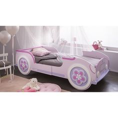 Auto-Bett LADY CAR  - rosa-violett - ausziehbar - 90x190/200 Little King, Mermaid Room, Car Bed, Dog Houses, Furniture Decor, Toddler Bed, Kids Room, Bedroom, Children