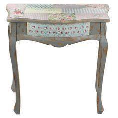 Wooden console with fabric in antique color and pastel patchwork