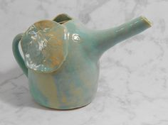 Pottery elephant pitcher - green elephant creamer - ceramic elephant pitcher - green ceramic pitcher - whimsical pitcher S119