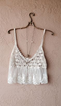Image of Millau for Anthropologie Coachella Romantic sheer lace and crochet crop camisole for beach days