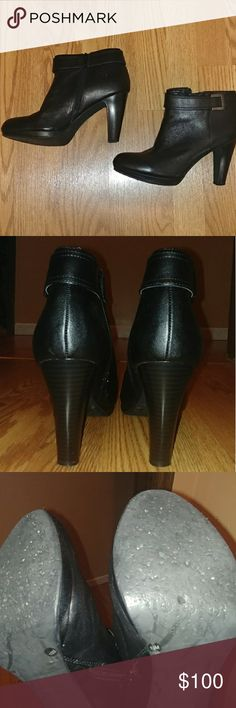 Heeled ankle booties Zip closure, faux buckle on ankle side.  Small platform.  Upper is on excellent condition, sole has some wear. Giani Bernini Shoes Ankle Boots & Booties