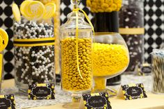 Yellow, White, and Black Candy Buffet