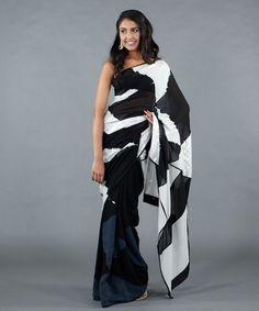 black and white pattern saree - Google Search