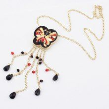 Exaggerated Exquisite Butterfly Pendant Long Tassels Necklace For Women