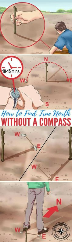 How to Find True North Without a Compass Basic survival skills are essential for anyone living off the grid whether its by choice or in a SHTF situation. In the event that you have to navigate without landmarks technology or even a compass you need Survival Life Hacks, Survival Tools, Survival Prepping, Emergency Preparedness, Survival Quotes, Survival Videos, Survival Stuff, Wilderness Survival, Camping Survival