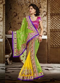 Yellow & Green Soft Net Party Wear Saree