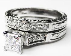 Engagement Ring - Princess Cut Diamond Engraved Engagement Ring & Matching Wedding Band in 14K White Gold - ES788PRBS