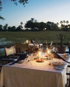 Eagle Island Camp ( Botswana ) You'll dine outside, hovering over the reeds, at this Orient-Express property. Safari Food, Okavango Delta, British Colonial, African Safari, Youre Invited, Where To Go, Great Places, Bali, Food Pairing