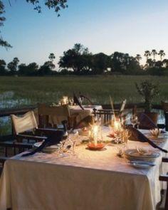 Eagle Island Camp, Okavango Delta, Botswana. $1,750/night. You'll dine outside, hovering over the reeds.