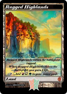 Extended style Rugged Highlands x4 - playset, {ALTERED} Lands, Token. Spells MTG Kahns of Tarkir, Dragons of Tarkir by cardco11ector65 on Etsy