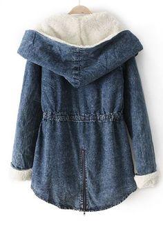 Blue Hooded Long Sleeve Drawstring Denim Outerwear - Sheinside.com