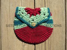Burgundy Red Crochet Bag, handmade by Sisters for Sunshine Creations