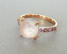 Faceted Rose Quartz accented with Amethyst Size 7, 18K Rose Gold Vermeil Ring(love this)