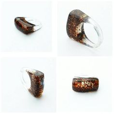 Chocolate brown glitter resin ring. Size 8 by BadKittybyNikki