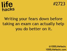 Exams.  Gee, 11 years at  three Universities, this life hack may have come in handy.  You will always have a degree of stress before exams but some stress is good - keeps you alert - fight or flight♥  ♥ ✿ Ophelia Ryan✿♥