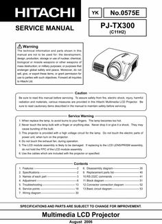 Original Service Manual for the Hitachi PJ-TX300 Videoprojector in PDF format .  The original form DOWNLOAD Global Safety, Procedural Writing, Electrical Wiring Diagram, Weapon Of Mass Destruction, Projectors, Repair Manuals, Pdf, The Originals, Windows Xp
