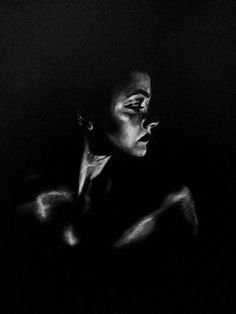 White charcoal on black paper by @kelseyknobel