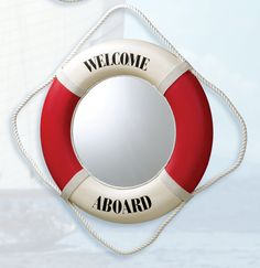 Red Welcome Aboard Life Ring Mirror, Nautical & Beach Home Mirrors & Welcome Signs