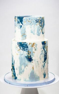 36 Fall Wedding Cakes That WOW ❤ fall wedding cakes white decorated with pearls and hand painted yellow blue abstract soulcakeshop Fancy Cakes, Cute Cakes, Pretty Cakes, Beautiful Cakes, Amazing Cakes, Fall Wedding Cakes, White Wedding Cakes, Wedding Cake Designs, Spring Wedding