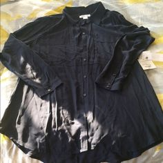 Navy, slightly sheer, button up shirt Liz Claiborne, new with tags. Liz Claiborne Tops Button Down Shirts