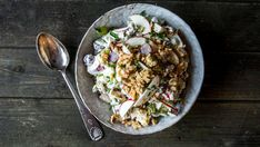 Waldorfsalat Waldorf Salat, Paella, Potato Salad, Food And Drink, Potatoes, Ethnic Recipes, Pineapple, Potato
