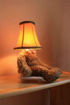 Lamp Bear old teddy bear old lamp shade mood lighting by PunkTrek, Grey Lamp Shades, Square Lamp Shades, Wall Lamp Shades, Painting Lamp Shades, Floor Lamp Shades, Shabby Chic Lamp Shades, Rustic Lamp Shades, Old Teddy Bears, Vintage Teddy Bears