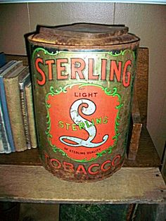 Antique Sterling Tobacco Tin Large Store Size 1800s