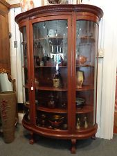 Antique Oak Victorian Carved Bowfront Claw Foot China Curio Cabinet -  Henshawu0027s