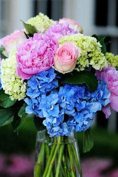 Pink peonies w/ the blue hydrangeas!!!