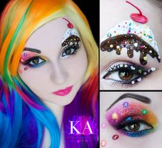 These are the complicated but amazing eye makeup designs you should start practicing now so you can wear them on Halloween. Candy Girls, Halloween Eye Makeup, Halloween Eyes, Halloween 2017, Diy Halloween, Halloween Costumes, Cosplay Makeup, Costume Makeup, Katy Perry Costume