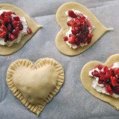 Personal strawberry or cherry heart-shaped pies