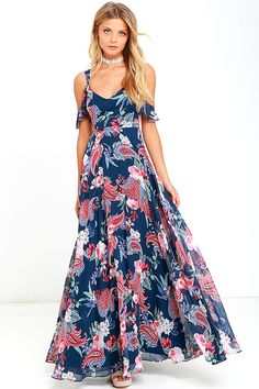 Exclusive print, only at Lulus! The Romantic Fantasy Pink and Blue Floral Print Maxi Dress will make your wildest wishes come true! Two sets of sheer straps create a cute off-the-shoulder look as they support a darted bodice and cascading maxi skirt, all composed of a lovely floral and paisley-inspired print in shades of blue, pink, turquoise, and white. Hidden back zipper.