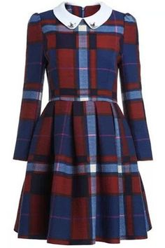 Preppy Style Peter Pan Collar Plaid Dress