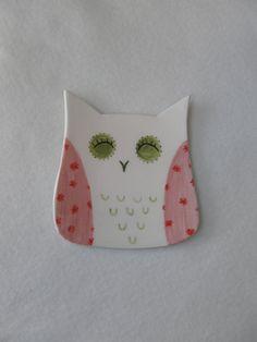 Ceramic Owl Plate,Jewelry Dish,Ring Bowl,Trinket dish,Tea light holder,Soap Dish,Owl,Pink,Spoon Holder,Plate,Girly Jewelry Dish,Pottery Owl