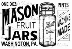 Mason Fruit Jar Sign Graphic Wood Crate Ball by GeorgesKitchen