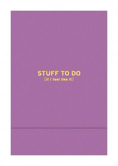 Pocket Note: Stuff to Do
